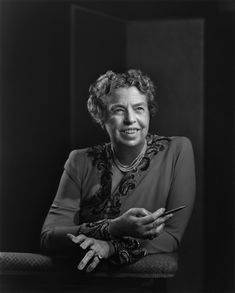 """Eleanor Roosevelt by Yousuf Karsh. """"The gelatin silver prints of Karsh's black-and-white work, full of dramatic contrasts and glistening highlights, also connect the prints with a more painterly version of portraiture,"""" Kennicott writes Eleanor Roosevelt, Roosevelt Family, Photography Women, Portrait Photography, Yousuf Karsh, Brigitte Lacombe, Kehinde Wiley, National Portrait Gallery, American Presidents"""