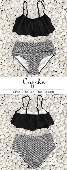Your dream vacation wouldn't be completed without the Cupshe Feeling Dizzy Falbala Bikini Set! Sleek and falbala design shapes this bikini top with lightly padded cups and high wasit bottom make it supportive. Have it for beach trip with best friends.