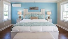 An image of a wall-mounted unit positioned in a bright-blue bedroom.