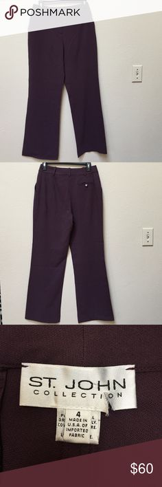 "St. John pants This is a pair of St. John plum purple pants in gently worn condition. Size 4. The waist measurement across when laid flat is 14.5"" and the inseam is 30"". St. John Pants Trousers"