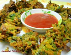 Spinach and onion pakoras from Sunanda's kitchen.
