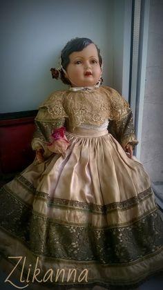 Антикварная французская красавица! очень редкая. целлулоид. Солома. Все родное. 1920е.