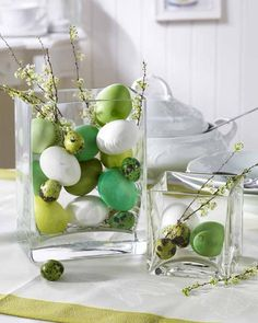 Easter Decorating Idea - shades of green eggs in clear, square vases