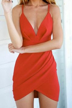 Spaghetti Strap Ruffle Solid Color Backless Dress