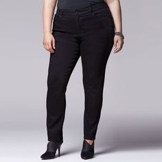 Plus Size Simply Vera Vera Wang Skinny Jeans ($34) ❤ liked on Polyvore featuring jeans, black, plus size, plus size skinny leg jeans, plus size jeans, skinny leg jeans, denim skinny jeans and skinny jeans
