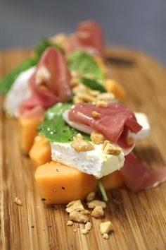 Melon, Prosciutto, & Saint Andre Cheese Salad (via Taste with the Eyes)
