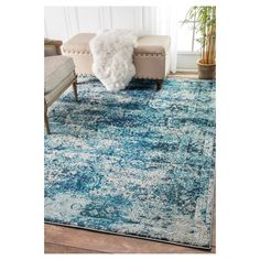 nuLOOM Traditional Vintage Distressed Blue Rug x (Ocean Blue), Size x (Polypropylene, Abstract) Decor, Area Rugs For Sale, Blue Rug, Online Home Decor Stores, Rugs, Vintage House, Nuloom, Home Decor, Area Rugs