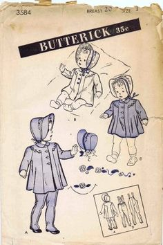 Vintage coat pattern. Love those leggings.