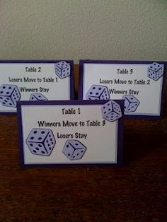 Great bunco table toppers ~ We need these!