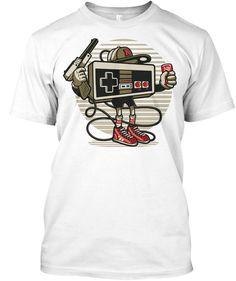 Old School Gamer White T-Shirt Front