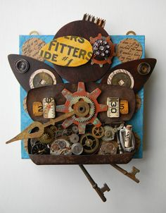 """""""Time Flies (Brown Bird)""""-Recycled art collage"""