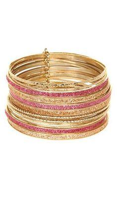 pink glitter bangles. love!