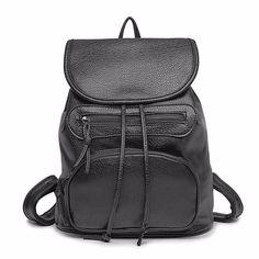 Cassual Coreano Mochila Moda Feminina Mochilas Vento Faculdade Escola Bags para a Menina Soft PU Senhoras de Couro mochila de Viagem Mochila
