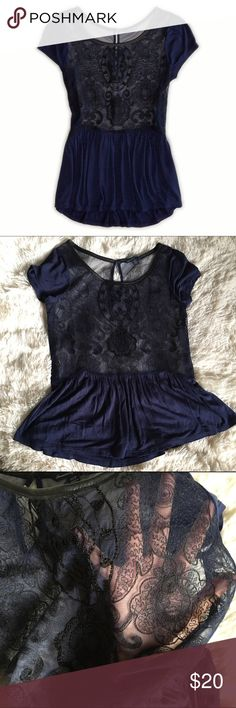 AE lace peplum top Beautiful lace & beaded peplum top. No holes or stains. American Eagle Outfitters Tops Blouses