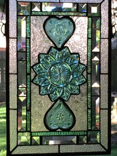 This piece is sold but it's a favorite! Using 3 vintage plates. Stained Glass Quilt, Making Stained Glass, Stained Glass Flowers, Stained Glass Designs, Stained Glass Panels, Stained Glass Projects, Stained Glass Patterns, Leaded Glass, Beveled Glass