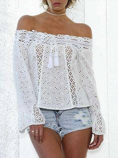 Lace Off Shoulder Flared Sleeves Cover-Ups Tops White Off Shoulder, Off Shoulder Tops, Off Shoulder Blouse, Coats For Women, Jackets For Women, Lace Tunic, Shirt Blouses, T Shirt, Maxi Dress With Sleeves