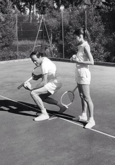 audreyhepburnforever:Audrey on the tennis court with her husband Mel Ferrer.