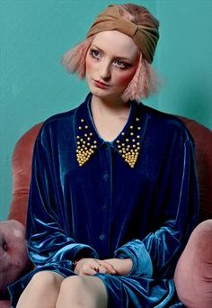 Pearl Encrusted Blue Velvet Shirt Dress  £50