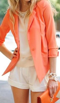 Classy Summer look - cream shirt, white shorts, light colorful (salmon) blazer