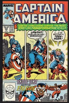 Captain America #355 July 1989 Marvel Comic Book Battle Star Meets The Falcon