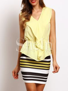Sleeveless Stripe Dress With Ruffle Blouse -SheIn(abaday)