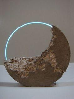 bluebirdsfloat:  Sarah Blood -Luna Fossil IV2010 Flameworked glass, argon, cement, pigmentApprox 63 x 63 x 12cm
