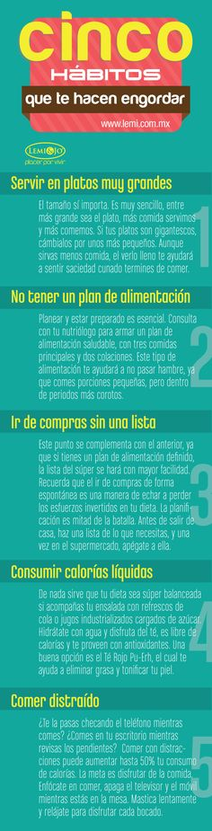 Infografía: 5 hábitos que te hacen #engordar. http://lemi.com.mx #salud #belleza #fitness #bienestar