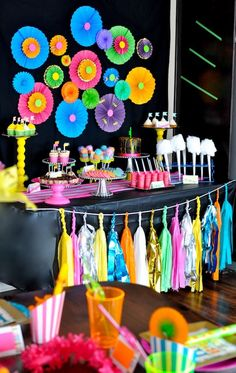 Neon Glow-in-the-Dark Tween Dance Girl Birthday Party Planning Ideas wicked cool Neon Birthday, Trolls Birthday Party, 13th Birthday Parties, Birthday Party For Teens, Birthday Party Themes, Girl Birthday, Troll Party, Birthday Ideas, 90s Party Decorations