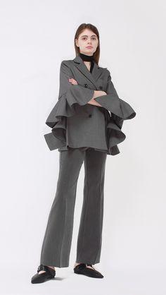 Ecru Ruffle Jacket | LOÉIL #ruffle #jacket #minimal
