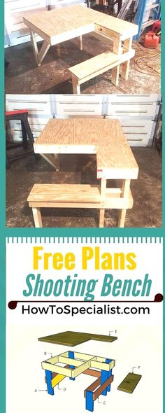 How to build a shooting bench - Step by step plans and instructions for you to learn how to make a wood shooting table!  #WoodworkPlans