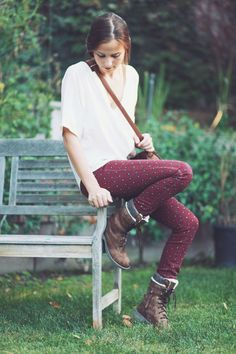 White blouse, burgundy polka dot skinny jeans, brown leather boots
