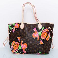 Сумка Louis Vuitton neverfull коричневая в монограмму с цветами. Размер 32х28х16см #18889