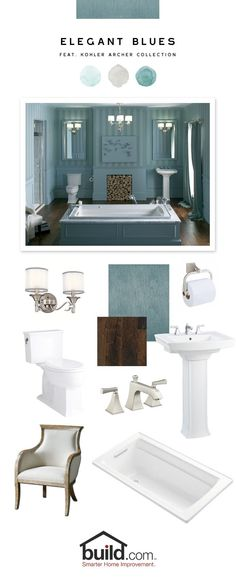 This Elegant Blues look features Kohler's Archer Collection. Miseno's Paduak Sunset flooring makes a handsome statement and adds a richness to the monochromatic blue-gray room. Kohler's luxurious soaking tub is the real show-stopper in the room and is complimented perfectly by the unique pedestal sink and square-tanked toilet.