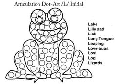 Dot Art Articulation Frog Initial /L/ Speech Therapy
