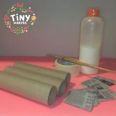 Explosivos 💣 TNT - 1° de 3 pasos  Materiales:  🎨 3 rollos de papel de cocina 🎨 Cinta de papel gruesa 🎨 Pegamento 🎨 Papeles de diario (que pueden estar cortados más grandes que lo común, porque en superficies planas y simples, no nos da tanto problema!)  En el link de FB podrás ver el paso a paso