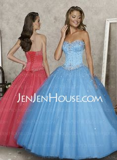 Quinceanera Dresses -= - Nice A-Line/Princess Sweetheart Floor-Length Satin Tulle Quinceanera Dresses With Beading (021004578) http://jenjenhouse.com/A-line-Princess-Sweetheart-Floor-length-Satin-Tulle-Quinceanera-Dresses-With-Beading-021004578-g4578