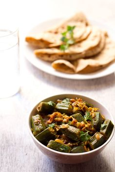 bhindi (okra) masala recipe with step by step photos. this bhindi masala is a simple and easy semi dry curry recipe. make restaurant type bhindi masala recipe at home. Indian Okra Recipes, Veg Recipes, Spicy Recipes, Curry Recipes, Vegetarian Recipes, Cooking Recipes, Kerala Recipes, Indian Foods, Vegetarian Lunch