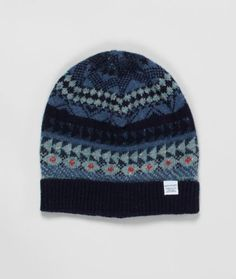 896989460c3 Fairisle Wool Beanie in ocean blues Norse Store