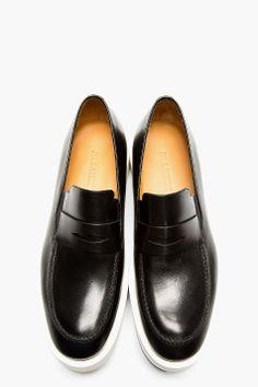 JIL SANDER Black Platform Sole Penny Loafers