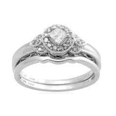 10k White Gold Diamond Bridal Ring (1/3 cttw, I-J Color, I2-I3 Clarity) Amazon Curated Collection. $415.00. Made in India