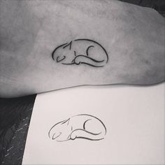 Sleepy cat tattoo on the foot. Tattoo artist: Ivy... - Little ...