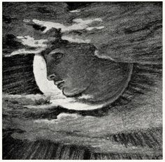 Luna Elihu Vedder, from Doubt and other things, Boston, 1922 Dante Gabriel Rossetti, Nocturne, Constellations, Moon Shadow, Moon Illustration, Sun Moon Stars, Paper Moon, Moon Art, Blue Moon