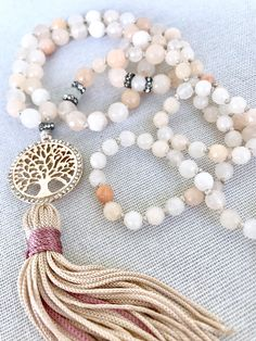 Tree of life mala necklace pink aventurine mala necklace gemstones necklace yoga mala tassel necklace meditation necklace 108 prayer beads by Katiaicrafts on Etsy