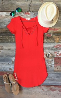 Fun in the Sun Tie Dress: Red Orange from privityboutique