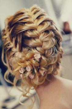 beautiful, braids, bride, hair