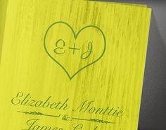 Heart Yellow & Green Country Wedding Invitations  by InvitationSnob, $21.50