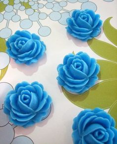 10 turquoise cabbage rose cabochons 26x22mm by bunnysundries (Craft Supplies & Tools, Jewelry & Beading Supplies, Cabochons, cabochon, turquoise, blue, jewelry, cab, flower, rose, resin, plastic, cabbage rose, flower cabochon, flower cab, blue rose cabochon)