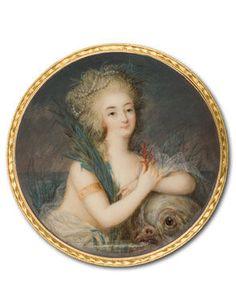 Ignazio Pio Vittoriano Campana, Marie Antionette, Queen of France, c. 1780-5. Watercolour on ivory, Diameter 7.2 cm..
