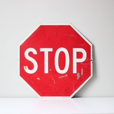 vintage stop sign / industrial street sign by AMradio on Etsy, $57.00