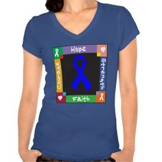 Colon Cancer Hope Strength Faith tshirts by www.giftsforawareness.com #coloncancer #coloncancershirts #awareness
